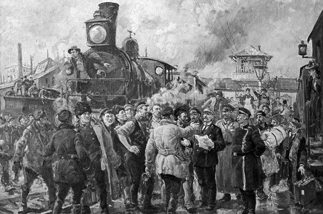 Картина художника Георгия Савицкого «Всеобщая железнодорожная забастовка. Октябрь 1905 года».