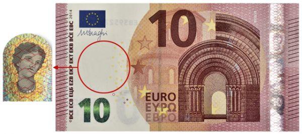 В 2014 в еврозоне в обращение была запущена новая купюра в 10 евро, на водяном знаке которой изображена богиня Европа из античной мифологии. Эта банкнота лучше других защищена от подделок — на ней усовершенствованные голограммы, водяные знаки и защитная полоска. Кроме того, купюры имеют специальное покрытие, делающее деньги более долговечными.