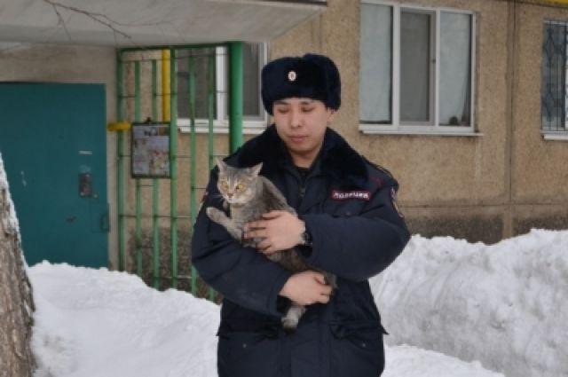 В Гайском округе полицейский спас кота Федора в День кошки