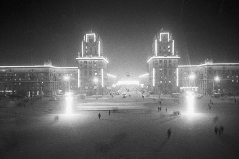 Ворота города Минска — привокзальная площадь, 1971 год.