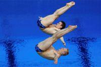 Илья Захаров и Евгений Кузнецов стали бронзовыми призерами в синхронных прыжках с трехметрового трамплина.