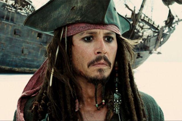 Голливудский актер Джонни Депп в исполнении роли капитана Джека Воробья