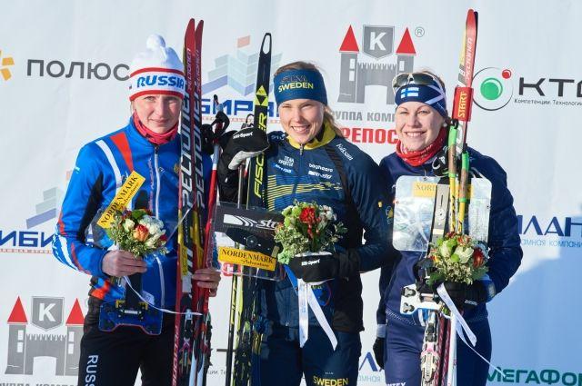 Наилучший результат показала Туве Александерссон, спортсменка из Швеции. Она держит первенство в этой дисциплине с 2011 года.  Второе место – у спортсменки краевой Академии зимних видов спорта Полины Фроловой, третье – у Салла Коскела из Финляндии.