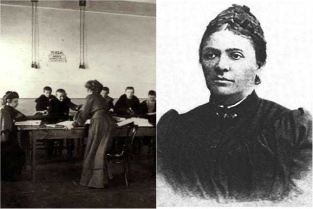 Слева - библиотека-читальня; справа - Александра Знаменская.