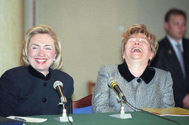 Хиллари Клинтон и Наина Ельцина.