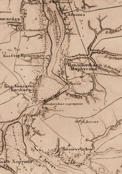 Карта местности, где по плану электрификации ГОЭЛРО 1920 года должен быть построена ДнепроГЭС, 1860 год.