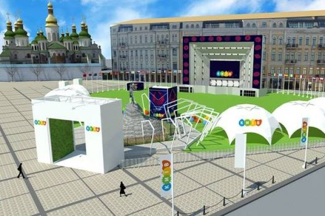 Киевлянам показали, как будет выглядеть фан-зона Евровидения наСофийской площади