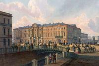 Полицейский мост в Санкт-Петербурге в XIX веке, литография по рисунку И. Шарлеманя