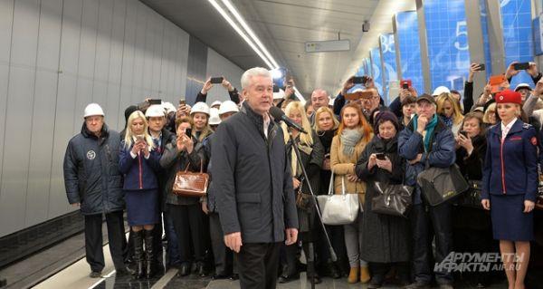 Мэр Москвы Сергей Собянин на открытии станции.