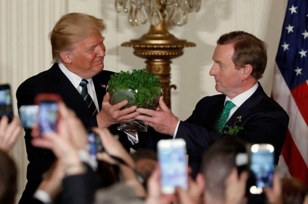 В Белом доме в Вашингтоне состоялся приём в честь Дня святого Патрика. Премьер-министр Ирландии Энда Кенни вручил Дональду Трампу традиционный подарок в виде миски трилистников.