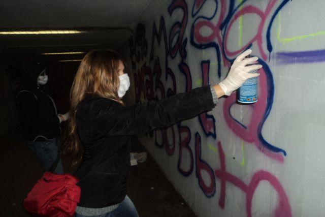 В Казани задержали хулиганов, разрисовавших несколько зданий
