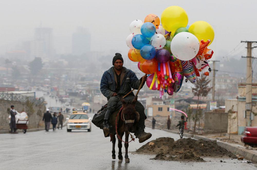 Афганский мужчина едет на осле на празднование Навруза в Кабуле.
