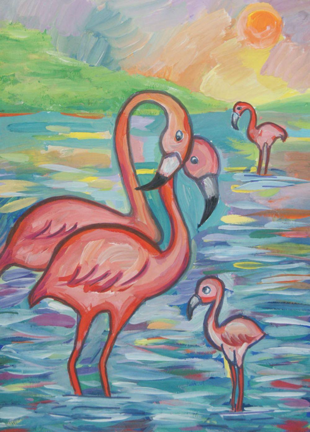 «Розовые фламинго с птенцами»