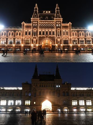Здание ГУМа с подсветкой и во время её отключения.