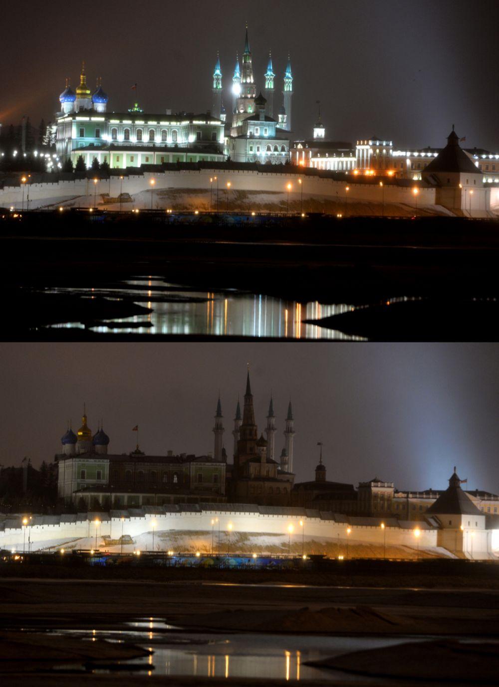 Казанский кремль с набережной реки Казанка.