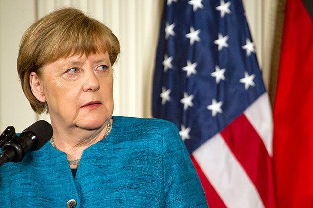 Ангела Меркель на совместной пресс-конференции с Дональдом Трампом.
