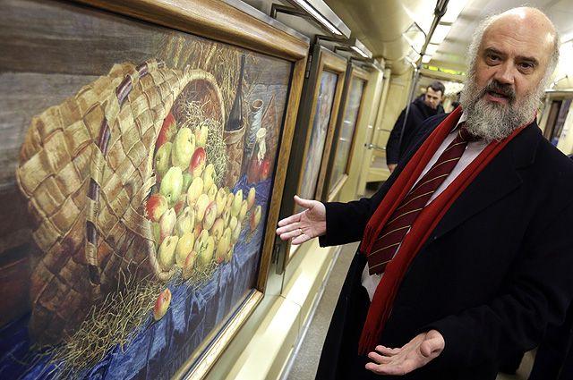 Художник Сергей Андрияка на презентации новой экспозиции именного поезда «Акварель».