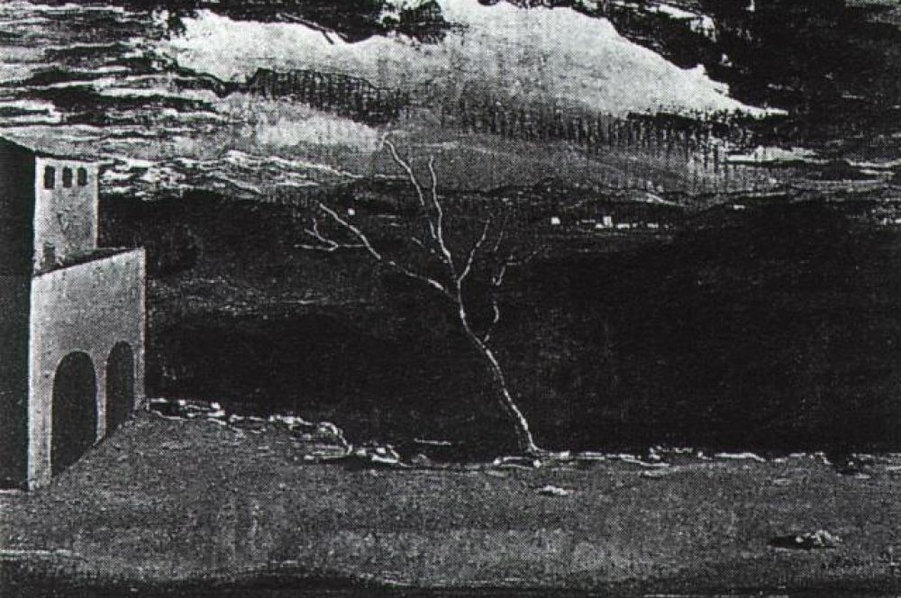 «Пейзаж рядом с Ампурдан». В ранних работах Дали часто изображает пустынные ландшафты Ампурдана и внедряет в них различные фигуры и элементы.