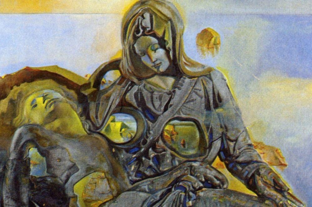 «Геологическое Эхо. Пьета». В картине Дали встраивает фигуры Девы Марии и Христа в скалистый пейзаж залива Кадакеса, как будто пытаясь найти божественное в земном.