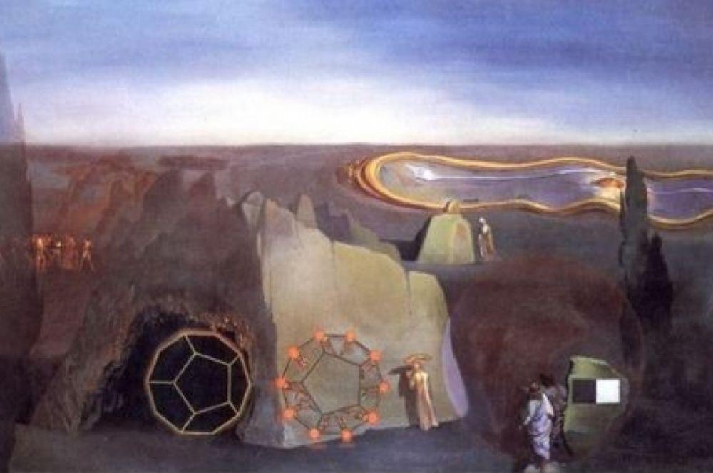 «В поисках четвертого измерения». В работе, написанной в 1979 году, художник активно экспериментировал со стереоскопическими и голографическими изображениями.