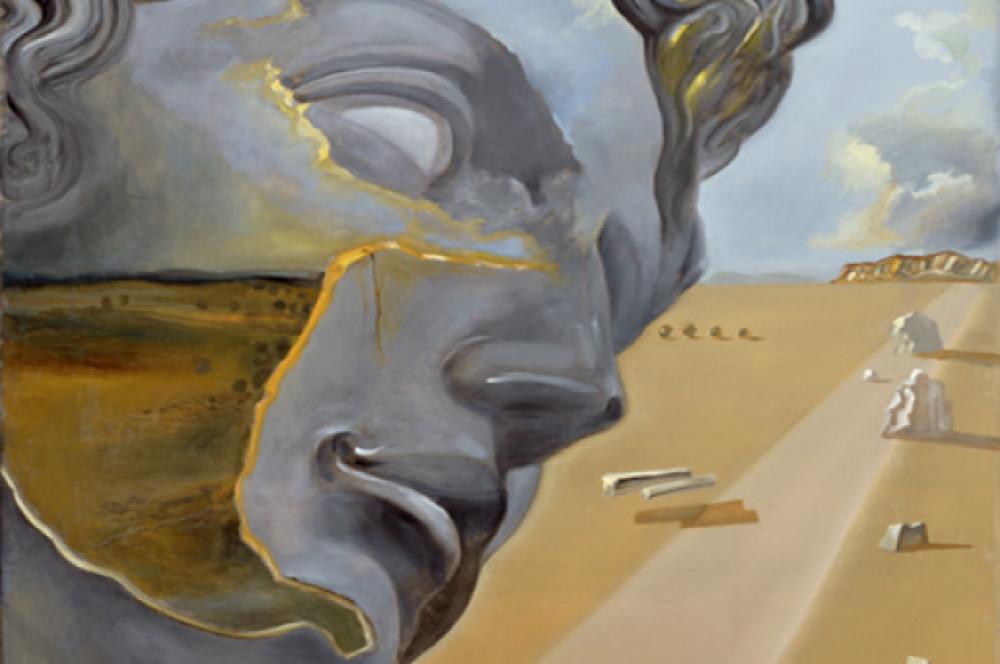 «По мотивам «Головы Джулиано Медичи» Микеланджело». Идея картины навеяна работами итальянских художников эпохи Возрождения, которыми Сальвадор Дали всю жизнь восхищался.