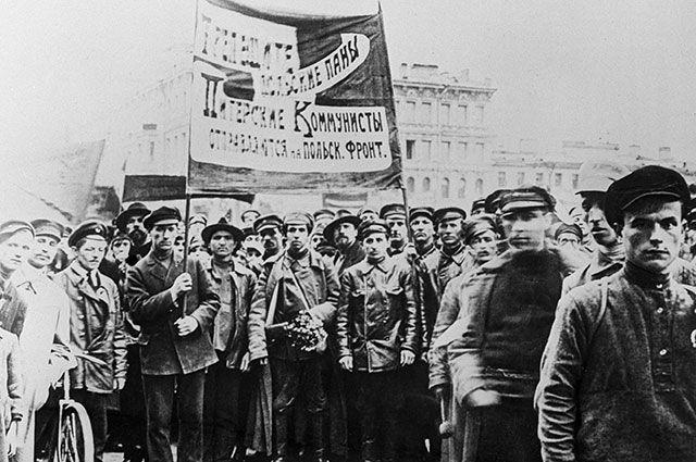 Митинг в поддержку Красной Армии во время Советско-польской войны. Гданьск, 1920 год.