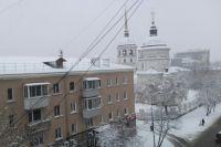 Снегопад в Иркутске.