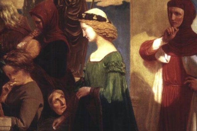 Петрарка смотрит на проходящую мимо Лауру.