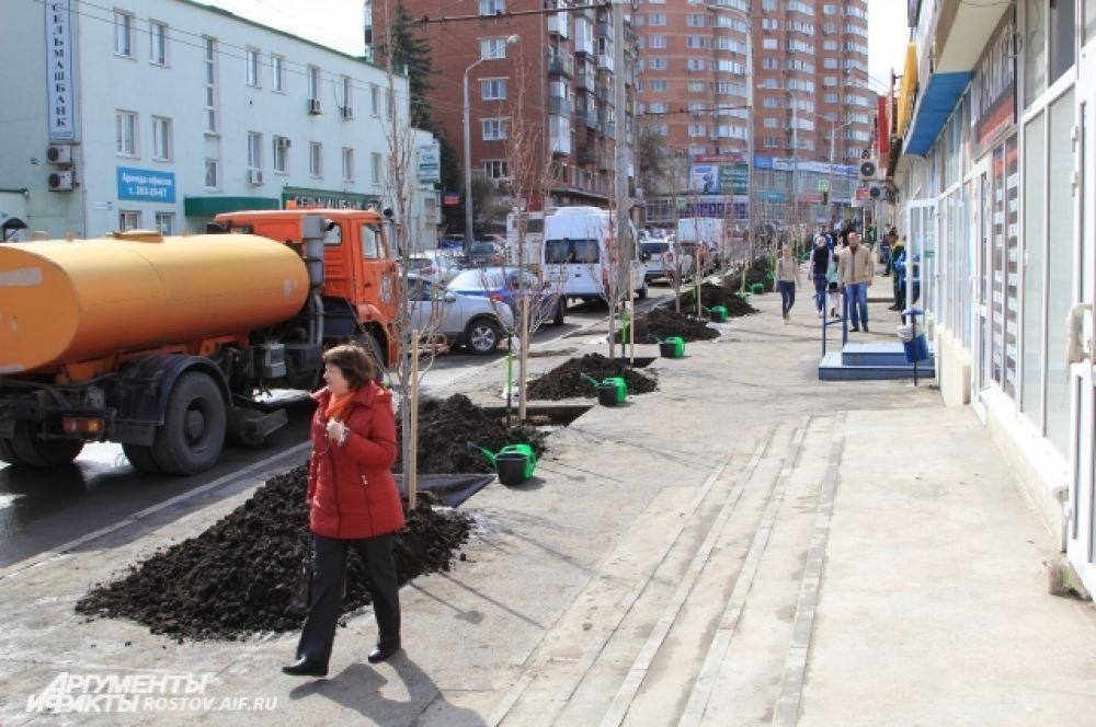 Следующий объект субботника - проспект Сельмаш. Здесь высадили 24 клёна.