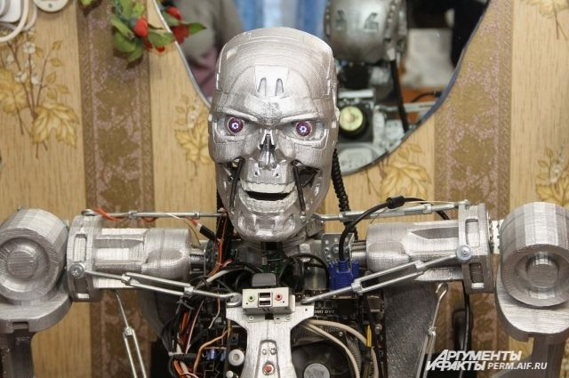 Дмитрий изготовил модель робота CS-101 серии T-800, которую воплотил на экране Арнольд Шварценеггер.