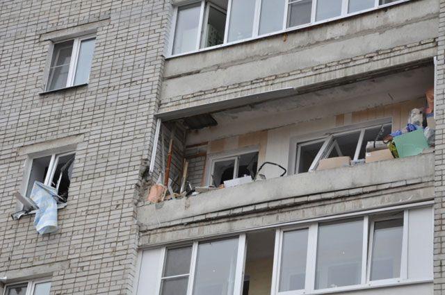 От взрыва в доме выбило окна.