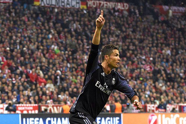 Криштиану Роналду радуется забитому голу в матче 1/4 финала Лиги чемпионов против «Баварии».
