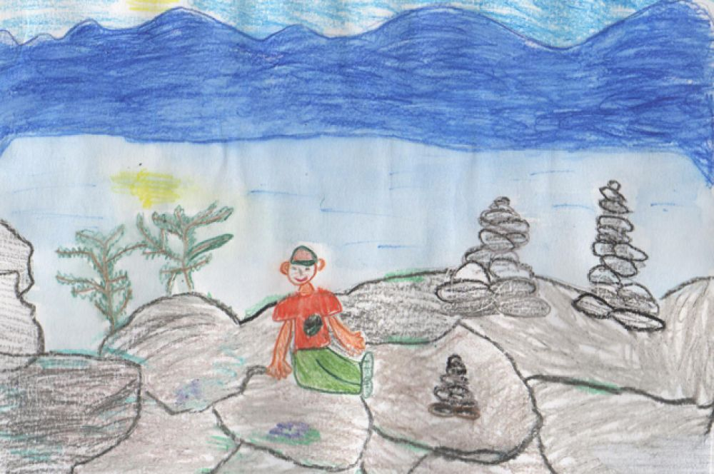 Участник №17 Андрей Воробьев, 6 лет. «На берегу Байкала»