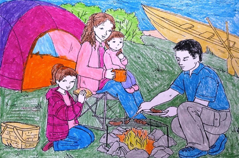 Участник №7 Есения, М., 5 лет. «Отдых на берегу Байкала»