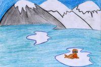 Рисунок Лады Лазарчук, 6 лет. «На льдине»