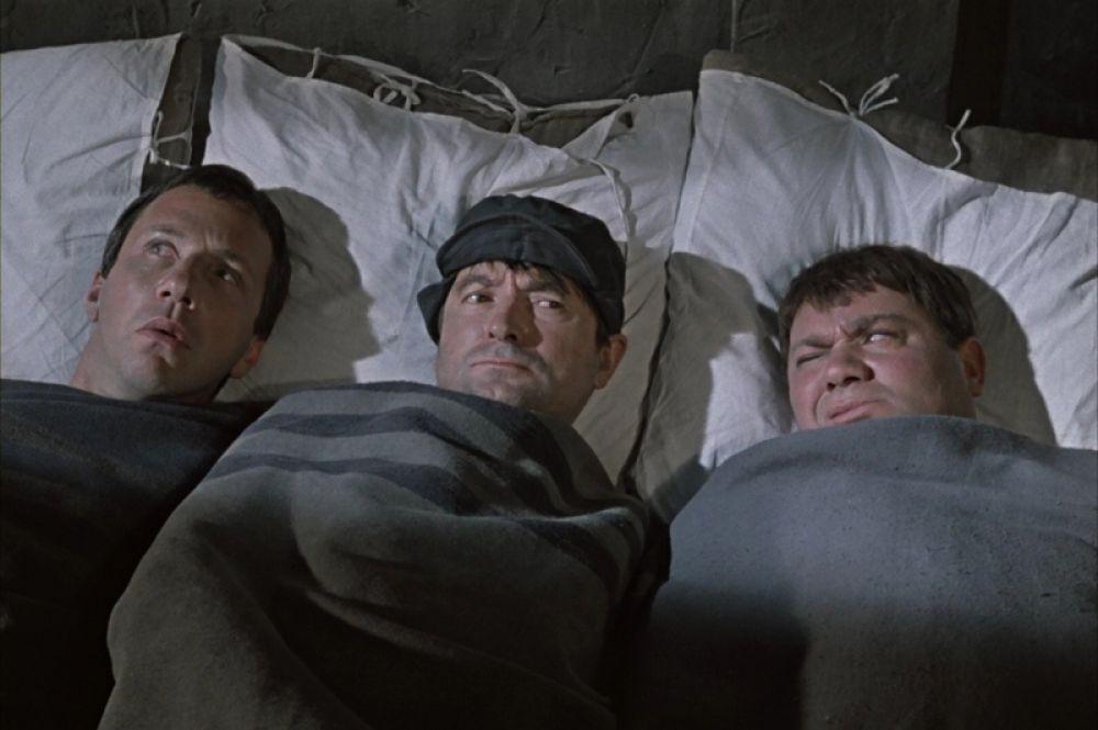 Савелий Крамаров, Георгий Вицин и Евгений Леонов в фильме «Джентльмены удачи». 1971 год.