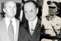 «Черные полковники»: Димитрис Иоаннидис, Георгиос Пападопулос, Стиллианос Паттакос.