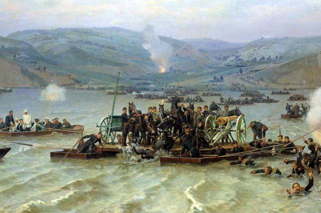 «Переправа русской армии через Дунай у Зимницы 15 июня 1877 года», Николай Дмитриев-Оренбургский, 1883 год.