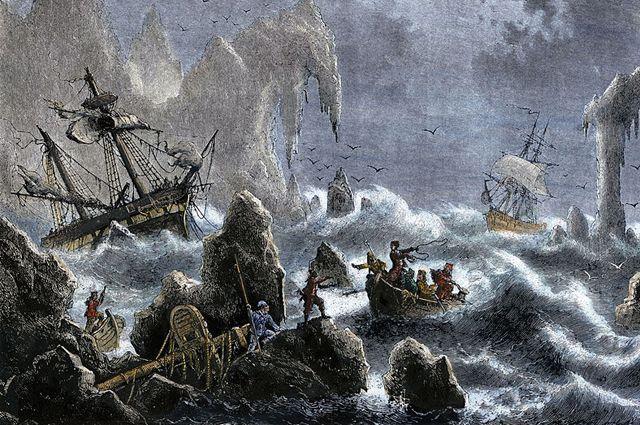 Экспедиция Витуса Беринга попала в шторм у Алеутских островов в 1741 году.