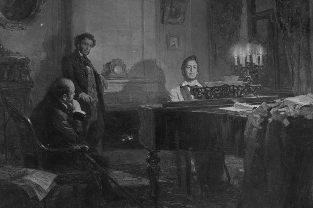 Картина художника Виктора Артамонова «Пушкин и Жуковский у Глинки». 1953 год.