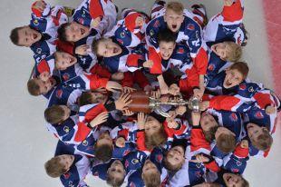 Команда ЦСКА после победы на суперфинале XI турнира «Кубок Газпром нефти» на «Арене Омск».