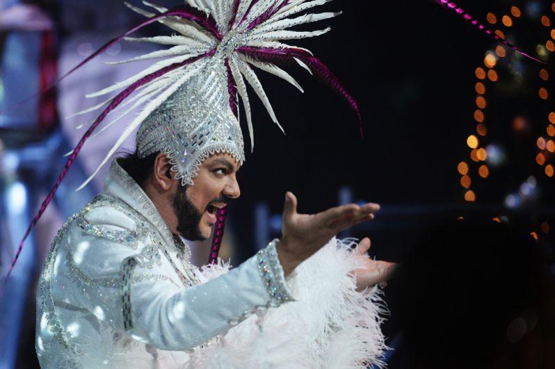 2016 год. Певец Филипп Киркоров на съемках новогодней программы на Первом канале.