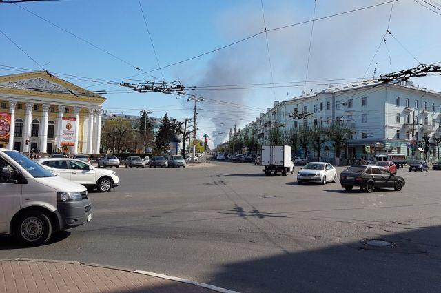 Вид на пожар с площади Театральной.