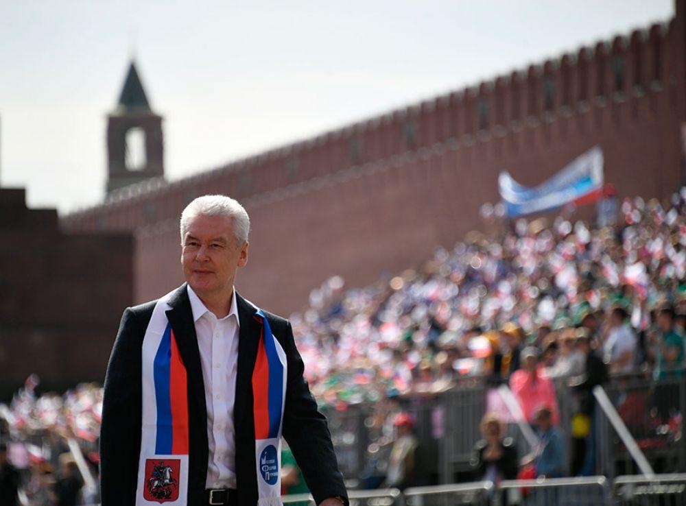 Мэр Москвы Сергей Собянин принял участие в демонстрации.