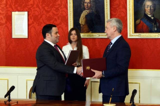 Фото из архива: подписание соглашения о сотрудничестве между Игорем Руденей и Сергеем Собяниным