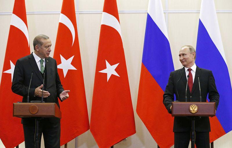 Президент РФ Владимир Путин и президент Турции Реджеп Тайип Эрдоган во время пресс-конференции по итогам встречи.