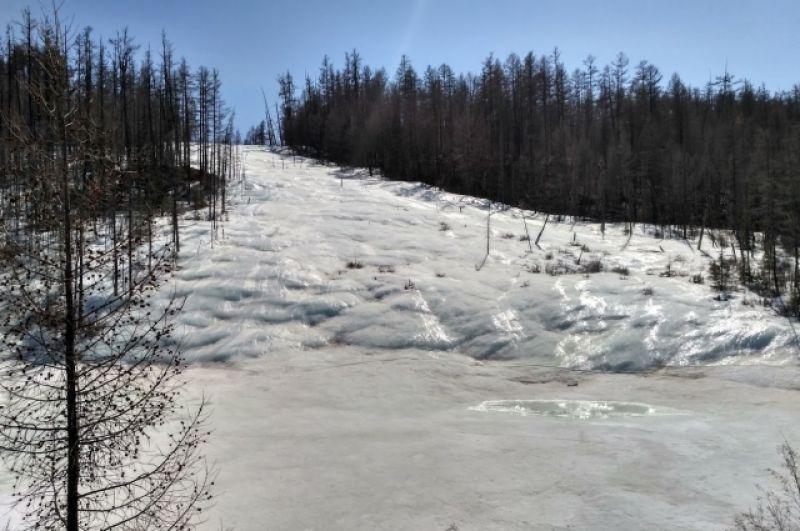 Восхождение на вершину совершается по еще не успевшей вскрыться горной реке.
