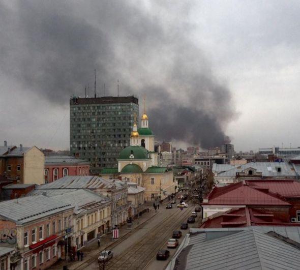 Пожар на складе макулатуры в Перми.