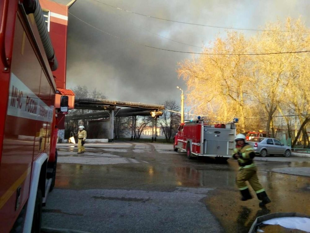Пожар на мясокомбинате в Краснокамске.