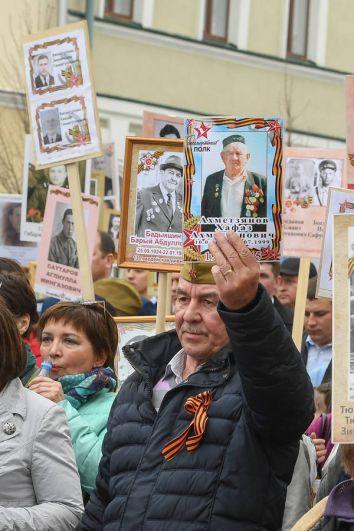Бессмертный полк прошел по маршруту площадь Свободы - ул. Карла Маркса – ул. Лобачевского – ул. Кремлевская – площадь Первого мая – площадь Тысячелетия.